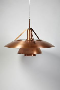 "poul henningsen for louis poulsen brushed copper + glass hanging ""tennis"" lamp 