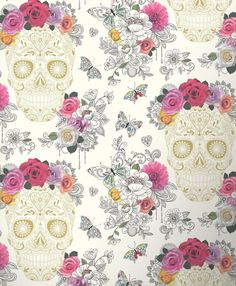 FLORAL FLOWER FUNKY SUGER SKULLS QUALITY FEATURE DESIGNER WALLPAPER RASCH 278026 in Home, Furniture & DIY, DIY Materials, Wallpaper & Accessories | eBay!