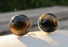 Tigers Eye Earrings Stud Earrings-Tigers Eye Stud by Belesas