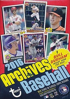 2016 Topps Archives MLB Baseball EXCLUSIVE Factory Sealed Retail Box with 80 Cards including Bull Durham Insert Look for Cards  Autographs of Kevin Costner Kris Bryant Ichiro Carlos Correa  More ** More info could be found at the image url.