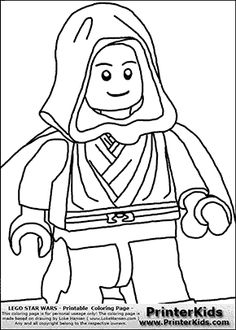 Lego Star Wars - Clipped Young Anakin Skywalker - Walking in Cloak - Coloring Page