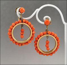 Antique Coral Earrings Victorian Hoop Gold Vermeil by boylerpf