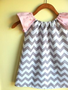 pink and gray chevron  peasant dress perfect for by noahandlilah