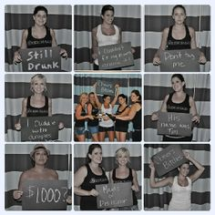 Bachelorette Party mug shots - shall we carry a dry erase/chalk board to write down the dares for pictures?
