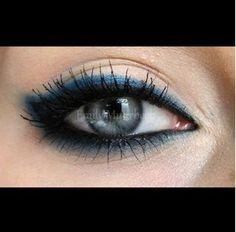 Dark blue eyeliner, smoked out eyeliner.                                                                                                                                                                                 More