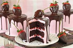 These Chocolate-Covered Strawberry Cakes are beautiful, romantic, and delicious! Chocolate cake with strawberry buttercream and a chocolate-dipped berry on top! Chocolate Strawberry Cake, Chocolate Dipped Strawberries, Strawberry Dip, Strawberry Desserts, Strawberry Buttercream, Buttercream Recipe, Strawberry Cheesecake, Decadent Chocolate, Homemade Chocolate