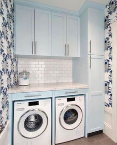 Laundry Bathroom Combo, Blue Laundry Rooms, Pantry Laundry Room, Laundry Room Remodel, Farmhouse Laundry Room, Laundry Room Storage, Laundry Room Design, Laundry Drying, Mud Rooms
