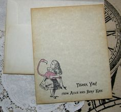Alice in Wonderland Thank You Card / Flat Thank You / Stationary Set Thank You / Note Card / Baby Shower / Wedding / Tea Party / Birthday