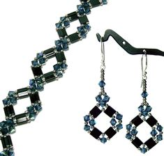*P Diamond Tila Bracelet and Earrings