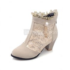 Women's Shoes Fall / Winter Fashion Boots / Round Toe Boots Dress Chunky Heel Zipper Black / Red / Beige - USD $32.39 ! HOT Product! A hot product at an incredible low price is now on sale! Come check it out along with other items like this. Get great discounts, earn Rewards and much more each time you shop with us!