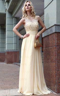 Elegant Spaghetti straps Long Yellow Prom Dresses | Fanny Crown