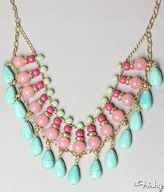 Pastel Beaded Bib Necklace
