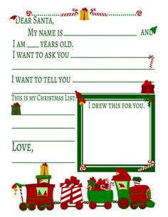 Christmas Train Free Kids Party Craft Letter To Santa Preschool Christmas, Christmas Activities, Christmas Crafts, Christmas Ideas, Christmas Stuff, Christmas Traditions, Christmas Writing, Santa Crafts, Christmas Labels