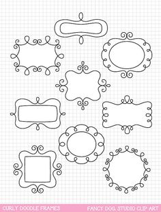 SALE - 60% OFF - Clip Art Doodle Frames Digital Borders Downloadable Clip Art Images Cute Digital Frame Instant Download