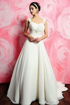 New Arrival Wedding Dresses A Line Square Court Train Chiffon