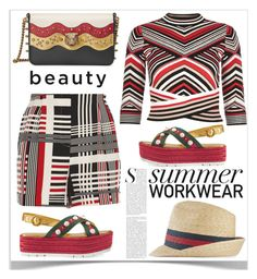 """summer workwear"" by shoaleh-nia ❤ liked on Polyvore featuring River Island and Gucci"