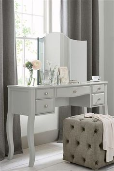 Buy Marielle Grey Dressing Table from the Next UK online shop White Dressing Tables, Bedroom Dressing Table, Vintage Dressing Tables, Dressing Table Design, Dressing Table Vanity, Vanity Tables, Vintage Bedroom Furniture, Bedroom Decor, Shops