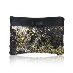 Gold and black Angelique sequin clutch by EmmaGordonLondon on Etsy