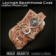 Carved Leather Smartphone Case Leather iPhone Case Metal concho WILD HEARTS Leather&Silver  http://item.rakuten.co.jp/auc-wildhearts/cc1328b30/