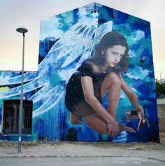 "Bifido & Julieta XLF, ""EGO"" at Saint Raphael church in Bunol, Spain, 2017 #urbangraffitiart"