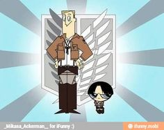 Yassssss xD Attack on Titan { Shingeki no Kyojin } Levi Ackerman as buttercup. Erwin Smith as the professor Attack On Titan Crossover, Attack On Titan Meme, Anime Crossover, Levi X Eren, Armin, Levi Ackerman, Cosplay Meme, Sasuke, Naruto