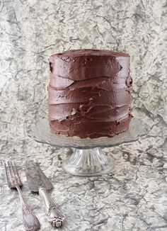 The best Golden Vanilla Layer Cake with chocolate mocha frosting.