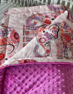 Elephant Toddler Minky Blanket - Blossom Pink Fabric with Large Elephants and Rasberry Minky - Made To Order