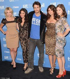 Selena stood out from her co-stars, Ashley Benson, Vanessa Hudgens, James Franco, and Rachel Korine at the Toronto Film Festival photocall. September 7, 2012.