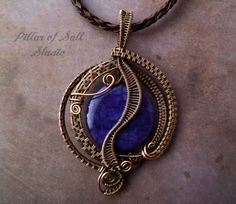 Purple Agate and copper Wire Wrapped pendant necklace by PillarOfSaltStudio