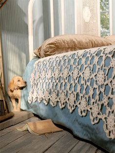 Crochet coverlet, designed by Valerie Teppo. Uses Blue Sky Skinny Cotton; crochet pattern instruction PDF $9 from Blue Sky Alpacas