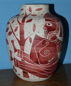MARCELLO FANTONI Double Signed SGRAFFITO VASE 1950s/60s ITALIAN MODERNIST #Vases
