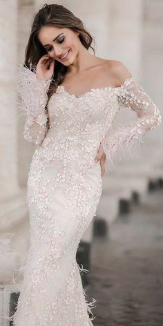 Romantic Off The Shoulder Wedding Dresses ❤ See more: http://www.weddingforward.com/off-the-shoulder-wedding-dresses/ #weddingforward #bride #bridal #wedding