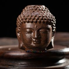 Chinese Wood Carving Kwan Yin Head Statue Figurine Amulet Hand Plaything