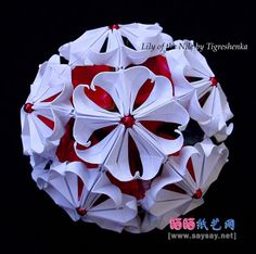 Very beautiful paper flower ball origami tutorial detailed illustrations 3d Origami Tutorial, Origami Videos, Origami And Kirigami, Paper Crafts Origami, Origami Instructions, Diy Origami, 3d Christmas, Christmas Paper Crafts, Christmas Origami