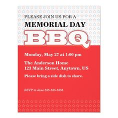 Red with Stars Customizable Memorial Day BBQ Invitation
