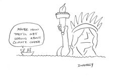 lady_liberty: Cartoon about CLimate Change. To see me draw it, go here: http://www.forbes.com/sites/lizadonnelly/2012/11/01/sandy-is-a-political-wake-up-call-video/
