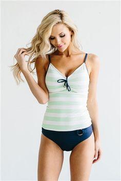 Mint Navy Tankini Top Modest Swimsuit, modest swimwear, cute one piece swimsuit, one piece swimsuit, modest tankini, tankini, vacation swimwear