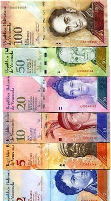 VENEZUELA 2 5 10 20 50 100 BOLIVARES 2007-2008 UNC FULL SET 6 PCS