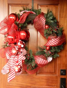 Christmas Wreath on the Front Door - A Christmas Carole - Beautiful Christmas Decorations from the Heart