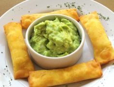 Tequeños - Comida Peruana  English translation: a foodgasm in your mouth with avocado cream