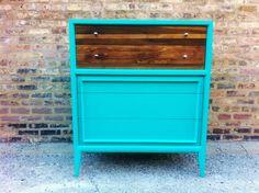 Rustic Mid Century Dresser In Turquoise