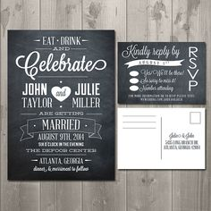 Eat Drink and Celebrate Chalkboard Wedding Invitation Suite - DIY Printable Invitation and RSVP Card $30.00