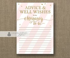 "Advice Card Mommy To Be Instant Download 5x7"" Blush Pink Gold Glitter Baby…"