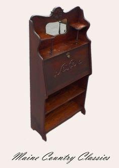Antique Larkin Oak Drop Front Desk W Mirror Key Paper Label Original Finish