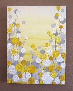 Yellow and Grey Art Textured Acrylic Painting door MurrayDesignShop