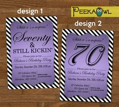 Printable 70th Birthday Invitation Card Seventy By PeekaOwl