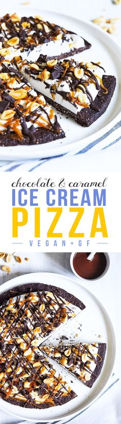 Pizza and ice cream all in one! Chocolate hazelnut crust topped with coconut whipped cream, peanuts, chocolate, and date-based caramel sauce. Vegan & Gluten Free.