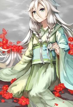 Ia from Vocaloid is wearing a beautiful greenish-blue kimono in this picture. The red flowers make her stand out. Vocaloid Ia, Miku Chan, Anime Kimono, Manga Anime, Manga Girl, Anime Art Girl, Vocaloid Characters, Manga Games, Me Me Me Anime