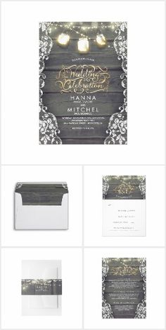 Enchanted String Lights Mason Jars Rustic Set. Rustic barn wood and white floral lace wedding invitation with string lights and mason jars, Faux gold typography #Ad
