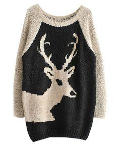 Contrast Color Deer Pattern Pullover